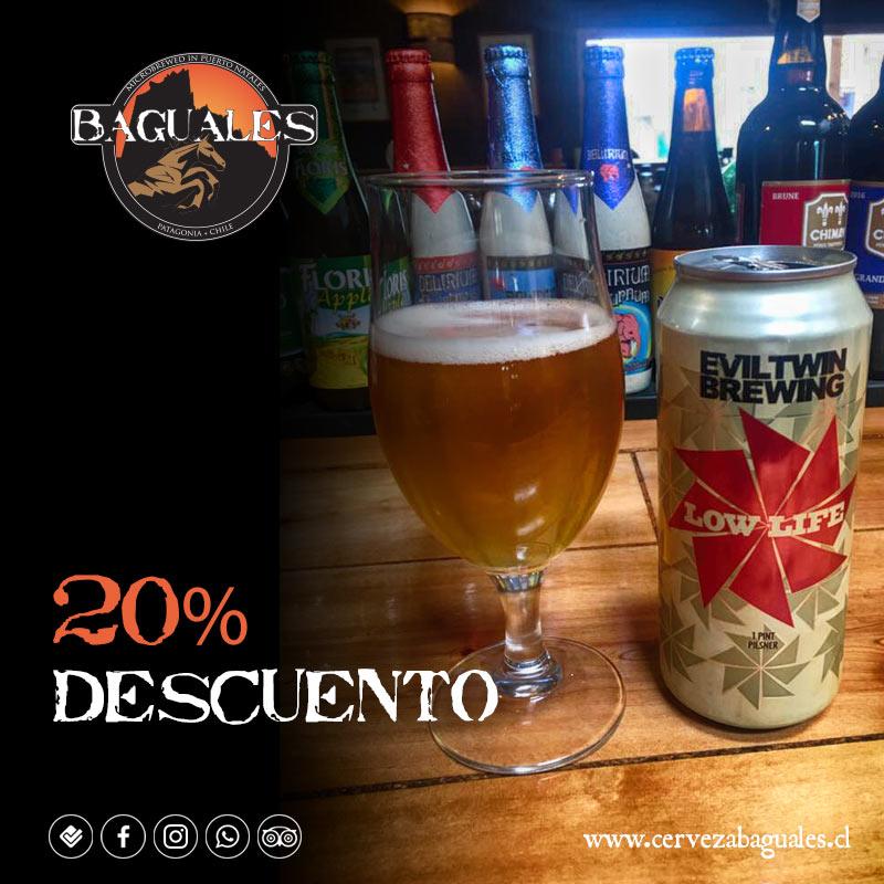 20% descuento cerveza eviltwin brewing - cervecería baguales